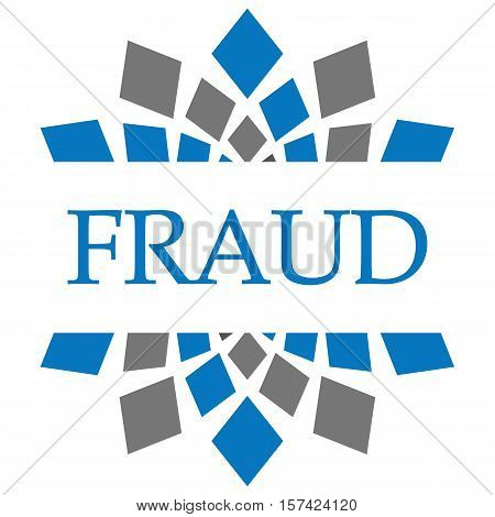Fraud text written over grey blue circular background.