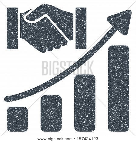 Acquisition Hands Growth Chart grainy textured icon for overlay watermark stamps. Flat symbol with unclean texture.