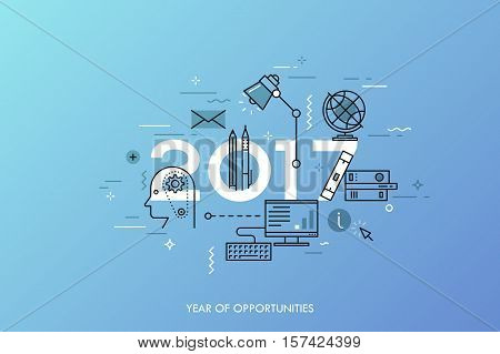 Infographic banner 2017 year of opportunities. New trends and prospects in internet blogging, communication, networking, online education and e-learning. Vector illustration in thin line style.