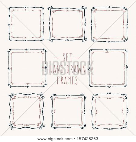Set hand drawn line border. Vintage vector drawing frames to your template. Illustration with brush and ink. Scribble design element