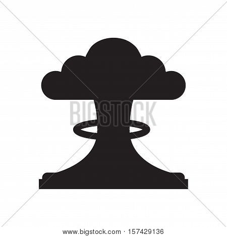 Flat icon in black and  white mushroom cloud