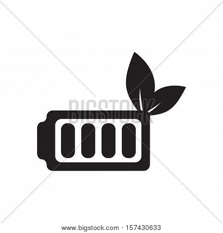 Flat icon in black and  white eco battery