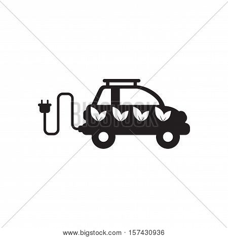 Flat icon in black and  white eco car