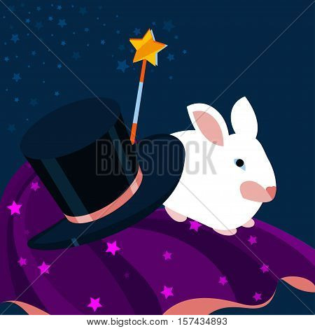 Set of magician Vector illustration White rabbit, top hat, magic wand and magician's cloak with stars pattern Poster in flat design