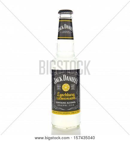IRVINE CALIFORNIA - NOVEMBER 16 2016: A bottle of Jack Daniels Lynchburg Lemonade. A cocktail made with Triple Sec whiskey Sour Mix and Lemon Lime Soda.