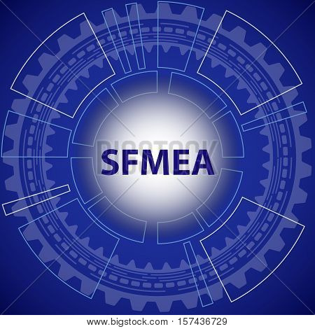 Software failure mode and effect analysis strategy background. Blue background with gear and title SFMEA in middle.