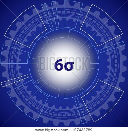 Six sigma strategy background. Blue background with gear and title six sigma in middle.