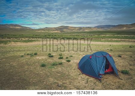 Tent pitched on the meadow in Central Tibet