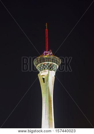 Night Lights Of The Sahara Casino & Stratosphere Tower In Las Vegas