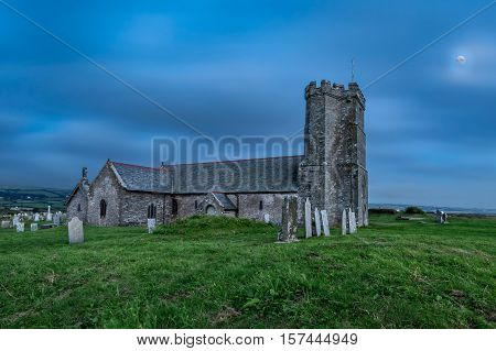 Night view of St Materiana's parish church in Tintagel Cornwall