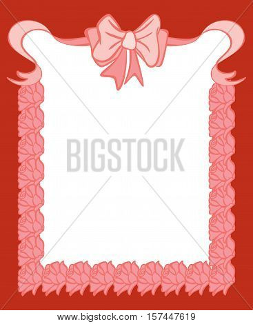 Scalable vectorial image representing a bank label with loop ribbon and roses, isolated on white.