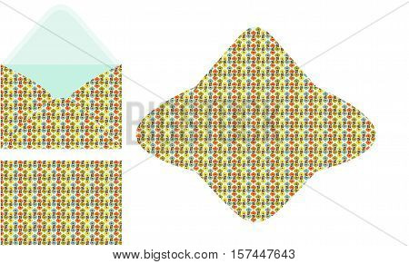 Scalable vectorial image representing a floral seamless C6 envelope template, isolated on white.