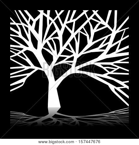 Scalable vectorial image representing a tree at night.
