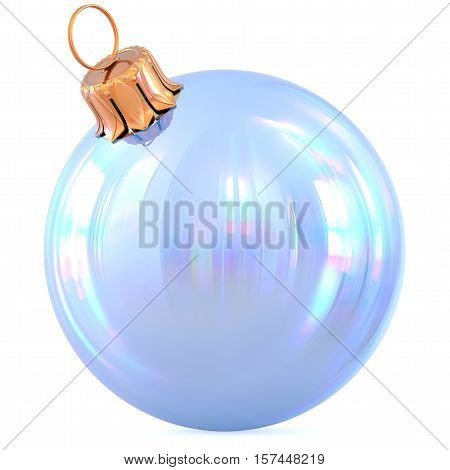 Christmas ball New Year's Eve decoration white shiny bauble wintertime hanging adornment souvenir. Traditional ornament happy winter holidays Happy Merry Xmas symbol blank classic. 3d illustration