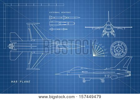 Drawing military aircraft. Top side ftont views. War plane with external weapons. Vector illustration