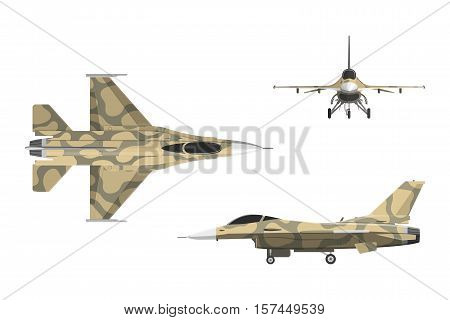 War plane in flat style. Military aircraft in top side front view. Vector illustration