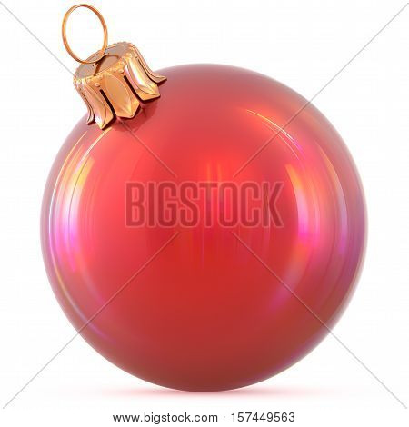 Christmas ball New Year's Eve decoration red shiny bauble wintertime hanging adornment souvenir. Traditional ornament happy winter holidays Happy Merry Xmas symbol blank classic. 3d illustration