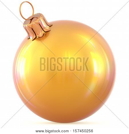 Christmas ball New Year's Eve decoration yellow shiny bauble wintertime hanging adornment souvenir. Traditional ornament happy winter holidays Happy Merry Xmas symbol golden classic. 3d illustration