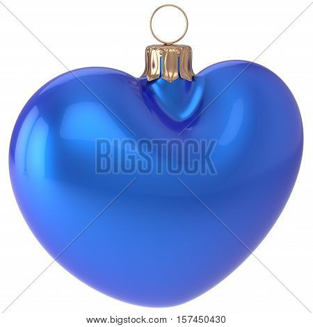 Christmas ball heart shaped New Years Eve bauble blue adornment decoration blank. Happy Merry Xmas traditional wintertime holidays ornament love greeting card festive design element. 3d illustration