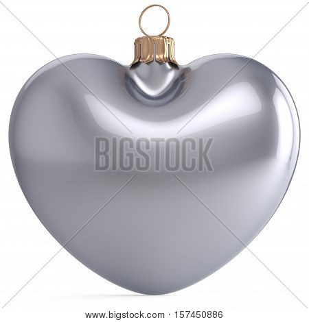 Christmas ball New Year's Eve bauble silver white heart shaped adornment decoration. Happy Merry Xmas traditional wintertime holiday ornament romantic greeting card design element. 3d illustration