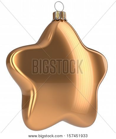 Golden Christmas ball star shaped hanging decoration adornment New Years Eve bauble. Happy Merry Xmas greeting card design element traditional wintertime holidays decor ornament blank. 3d illustration