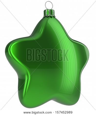 Green Christmas ball star shaped hanging decoration adornment New Year's Eve bauble. Happy Merry Xmas greeting card design element traditional wintertime holidays decor ornament blank. 3d illustration