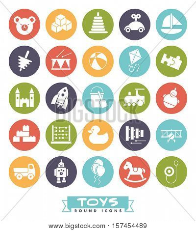 Toys for babies, kids, children and toddlers vector icon set. Collection of round children's toys color icons.