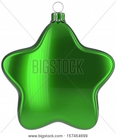 Christmas star hanging decoration green New Year's Eve bauble ornate Merry Xmas ball. Happy wintertime adornment greeting card design element traditional festive decor ornament blank. 3d illustration