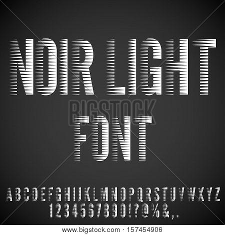 Stripped Nervous Light Retro Noir Movie Font. Vector letters set