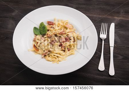 Pasta With Bacon Amd Mint