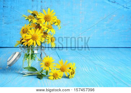 fresh cut yellow daisies in a jar