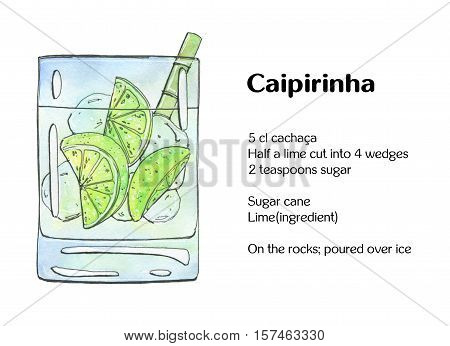 Hand Drawn Watercolor Cocktail Caipirinha On White Background