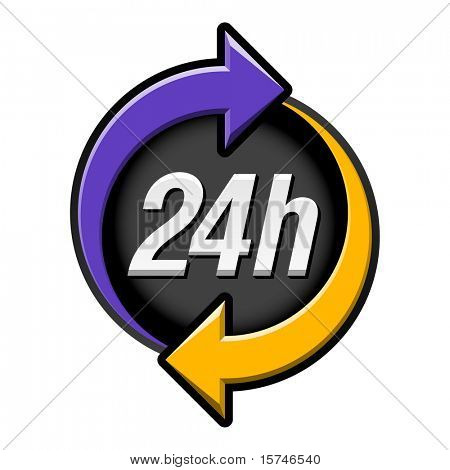 24 hours sign. Vector.