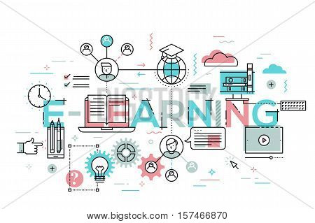 Thin line flat design banner for e-learning web page, distance education, online training and courses. Modern vector illustration concept of word e-learning for website and mobile website banners.