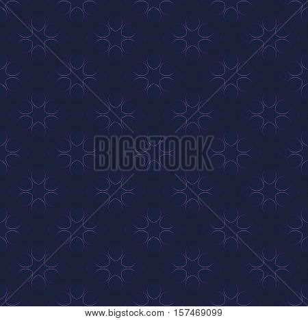 Abstract geometric seamless background in quiet colors. Regular floral pattern with purple outlines on dark blue, diagonal and blurred.
