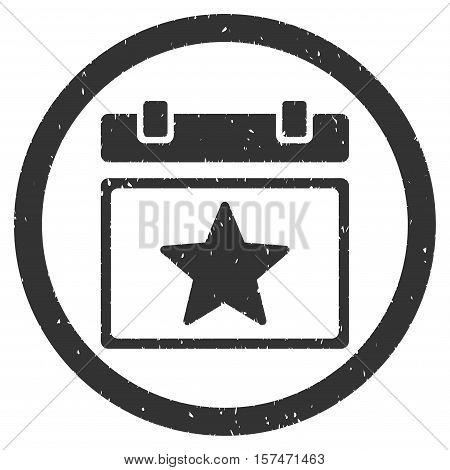 Star Favourites Day grainy textured icon inside circle for overlay watermark stamps. Flat symbol with scratched texture.