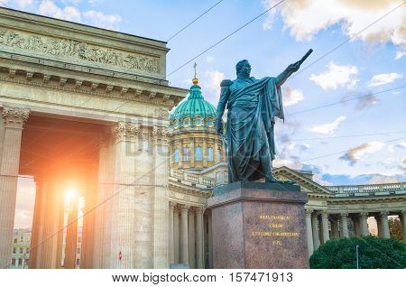 ST PETERSBURG RUSSIA - OCTOBER 3 2016. Monument to Field Marshal Prince Mikhail Kutuzov near Kazan Cathedral in St Petersburg Russia - architecture sunset landscape of St Petersburg landmark