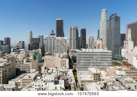 Los Angeles USA - September 26 2015: View of Los Angeles city from the roof of building.