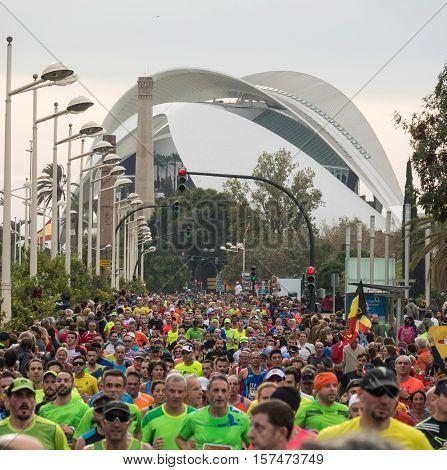 VALENCIA, SPAIN - NOVEMBER 20, 2016: Several runners running the marathon, November 20 2016 in Valencia Spain
