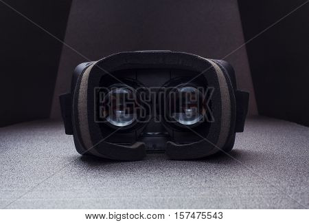 Virtual reality headset, inside view, vr glasses, dramatic light, virtual real app, virtual 360, virtual reality glasses from inside