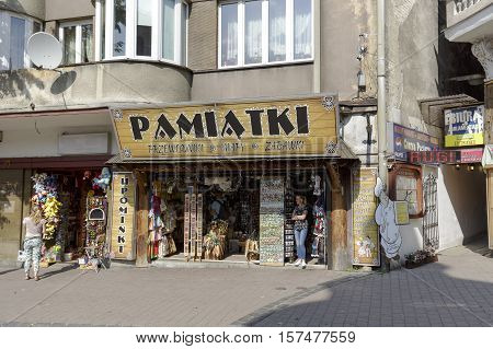 ZAKOPANE POLAND - SEPTEMBER 13 2016: Souvenir shop in which various souvenirs are put on sale. It is located along Krupowki street in downtown.