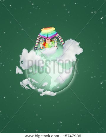 child clown with striped clothes on globe on green sky collage