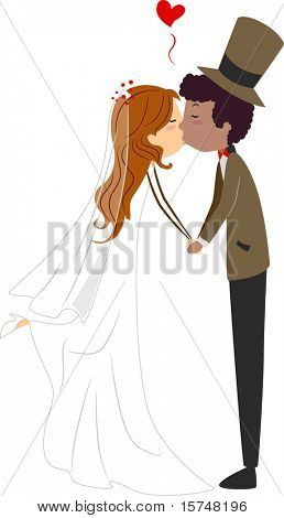 Illustration of an Interracial Couple Sharing a Kiss
