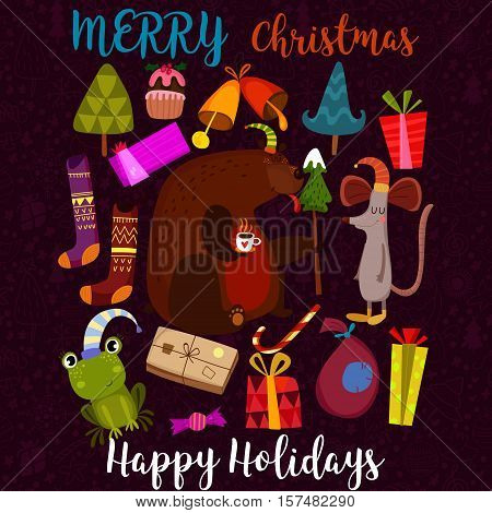 Merry Christmas And Happy Holidays Card With Bear,mouse, Frog And Holiday Symbols. Stylish Holiday S
