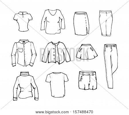 Set of hand drawn vector woman clothes - skirts, shirt, blouse, pullover, breeches, shorts, jeans, jacket. Isolated on white background. Easy to colorize.