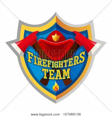 Firefighters team - Firefighter emblem label badge and logo isolated on white background.