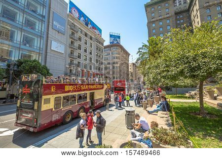 San Francisco, California, United States - August 17, 2016: the Big Bus, Hop On Hop Off, Sightseeing Tour, the popular double-decker bus carrying tourists, standing in Union Square, during a day tour.