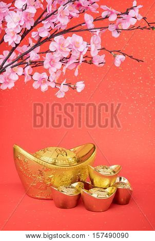 Chinese gold ingot mean symbols of wealth and prosperity