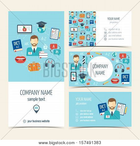 Collection of promotional products for foreign language courses and schools. Flyer brochure and business cards. Flat design. Vector illustration