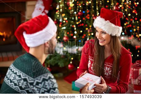 Surprise with gift for Christmas eve